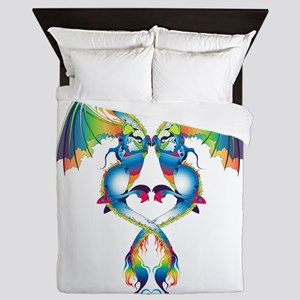Rainbow Love Dragons Queen Duvet
