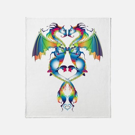Rainbow Love Dragons Throw Blanket