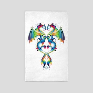 Rainbow Love Dragons Area Rug