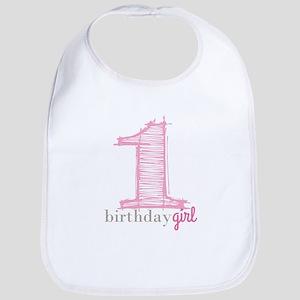 First Modern Birthday Pink Bib