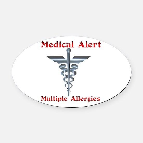 Multiple Allergies Medical Alert A Oval Car Magnet