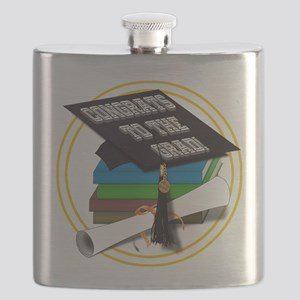Graduation Cap with Diploma and School Books Flask