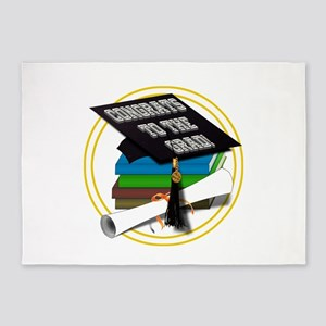 Graduation Cap with Diploma and Sch 5'x7'Area Rug
