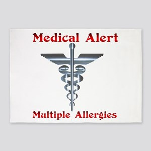 Multiple Allergies Medical Alert As 5'x7'Area Rug