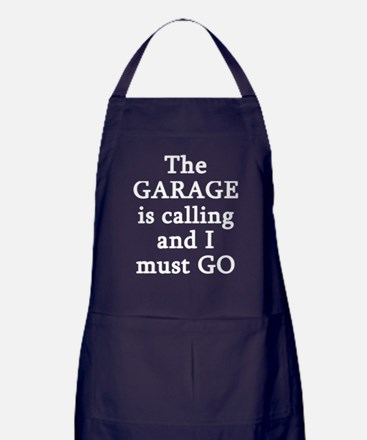 The Garage Is Calling I Must Go Apron (dark)