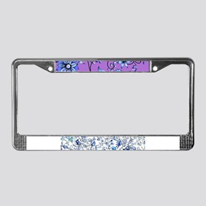 Purple and Blue Floral License Plate Frame