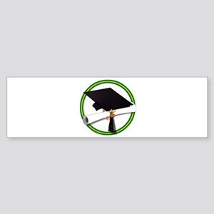 Graduation Cap with Diploma,Green a Bumper Sticker