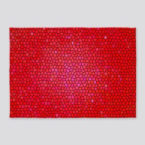 Red/pink color stained glass patter 5'x7'Area Rug