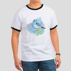 Watercolor Bluebird Pretty Blue Garden Bird Art T-