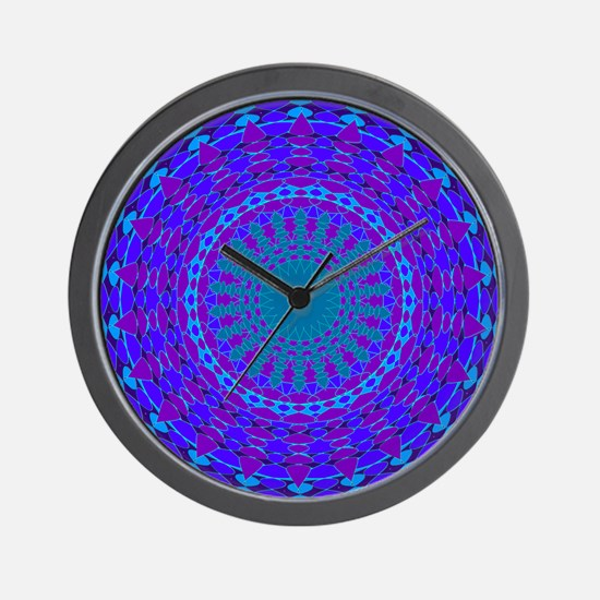 Jewel toned Mandala Floral blue purple Wall Clock