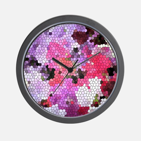 Sweet peas color stained glass pattern Wall Clock