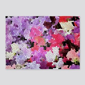 Sweet peas color stained glass patt 5'x7'Area Rug