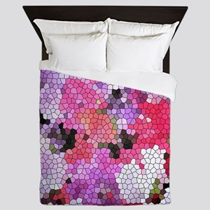 Sweet peas color stained glass pattern Queen Duvet