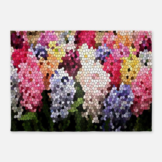 Hyacinths color stained glass patte 5'x7'Area Rug