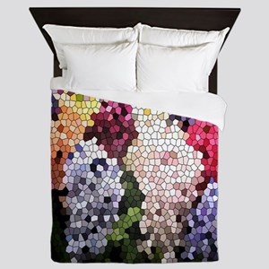 Hyacinths color stained glass pattern  Queen Duvet