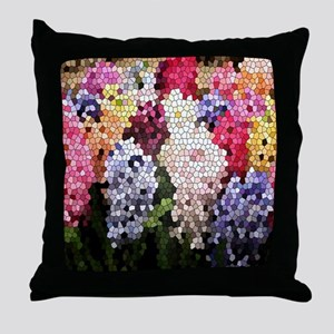 Hyacinths color stained glass pattern Throw Pillow