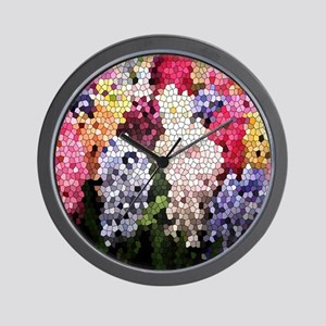 Hyacinths color stained glass pattern s Wall Clock