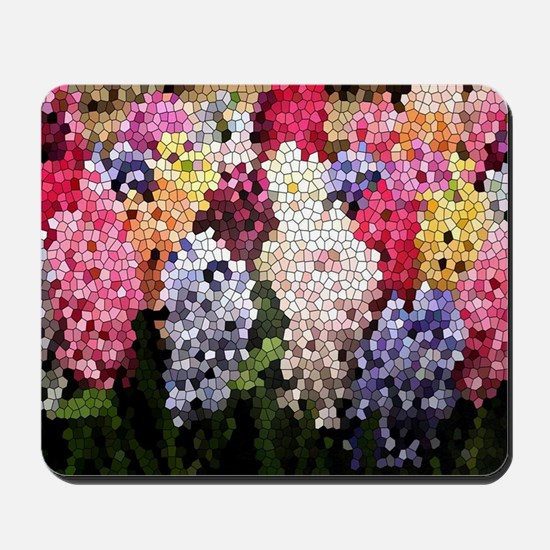 Hyacinths color stained glass pattern sh Mousepad