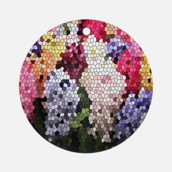 Hyacinths color stained glass patte Round Ornament