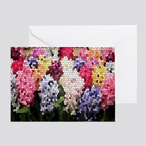 Hyacinths color stained glass patter Greeting Card