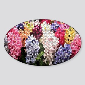 Hyacinths color stained glass patte Sticker (Oval)