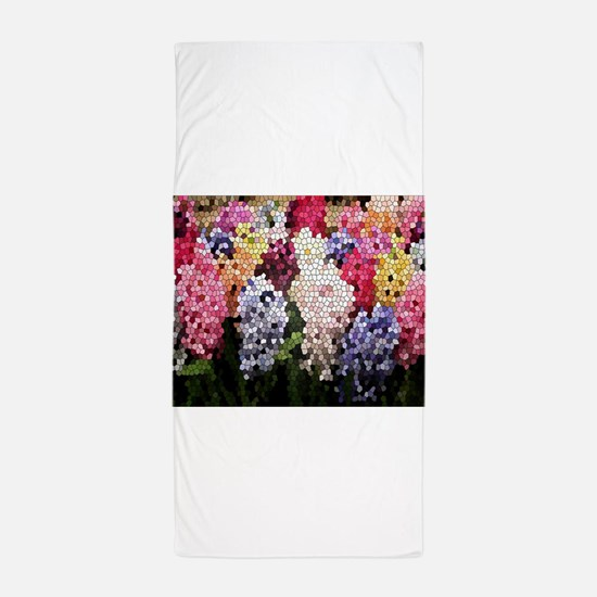 Hyacinths color stained glass pattern Beach Towel