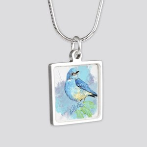 Watercolor Bluebird Pretty Blue Garden Bird Art Ne