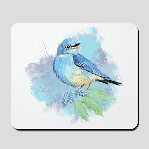 Watercolor Bluebird Pretty Blue Garden Bird Art Mo