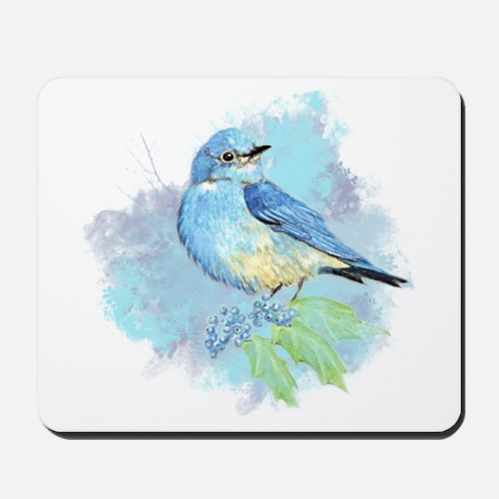 Watercolor Bluebird Pretty Blue Garden Bird Art Mo
