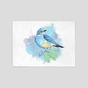 Watercolor Bluebird Pretty Blue Garden Bird Art 5'