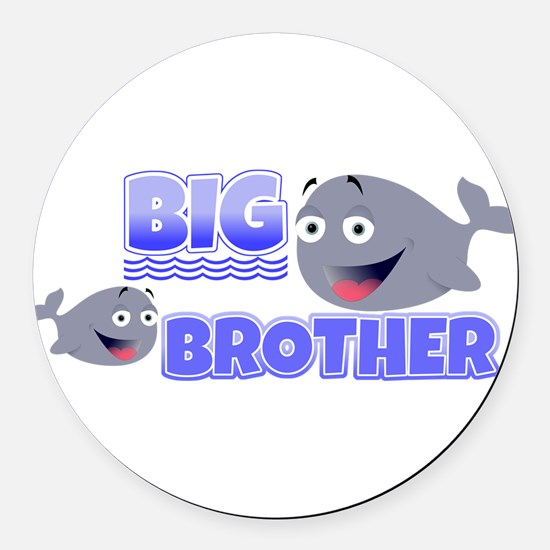 Big Brother Whales Round Car Magnet