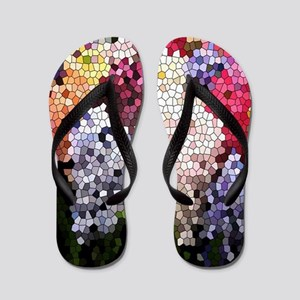 Hyacinths color stained glass pattern s Flip Flops