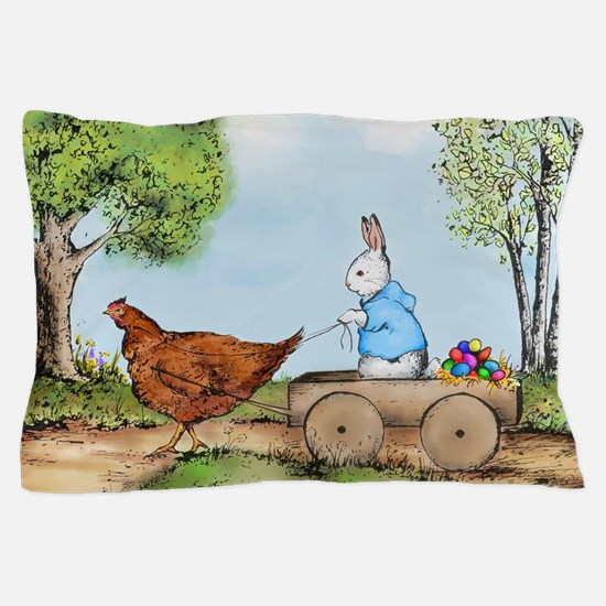 Easter Bunny on the Road Pillow Case