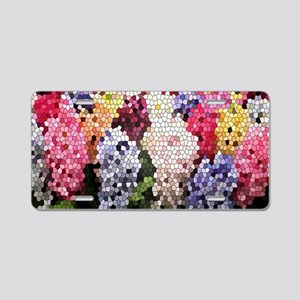 Hyacinths color stained gla Aluminum License Plate