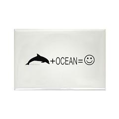 Dolphin+Ocean=Happy Rectangle Magnet