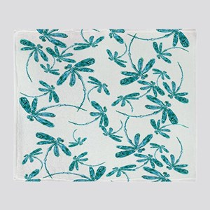 Dragonfly Frenzy Turquoise Throw Blanket