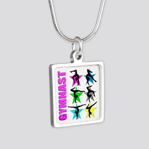 GYMNAST CHICK Silver Square Necklace
