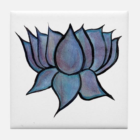 Blue Lotus Flower Tile Coaster