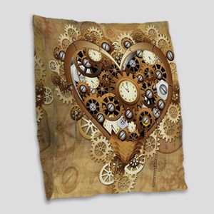Steampunk Heart Love Burlap Throw Pillow