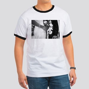 Bride and groom holding black and white we T-Shirt