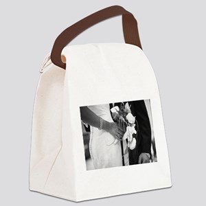 Bride and groom holding black and Canvas Lunch Bag