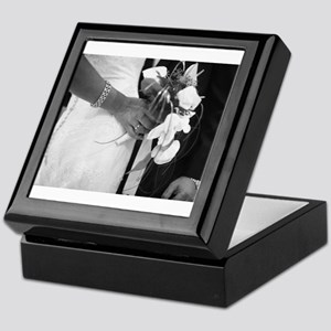 Bride and groom holding black and whi Keepsake Box