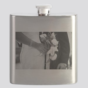 Bride and groom holding black and white wedd Flask