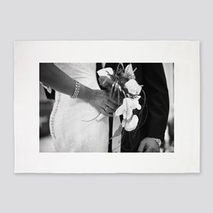Bride and groom holding black and w 5'x7'Area Rug