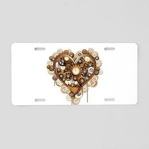Steampunk Heart Love Aluminum License Plate