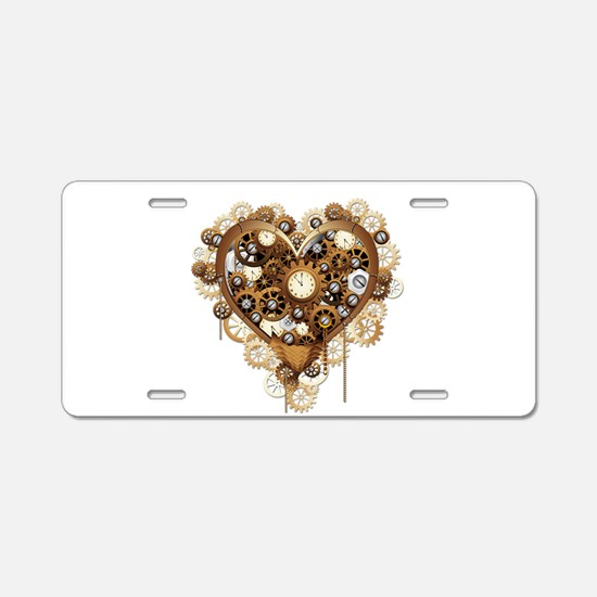 Steampunk Heart Love Aluminum License Plate