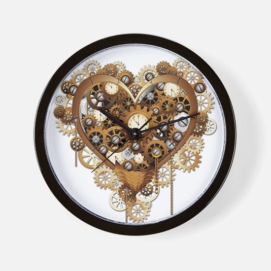 Steampunk Heart Love Wall Clock
