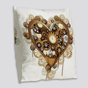 Steampunk Heart Love Burlap Throw Pillow