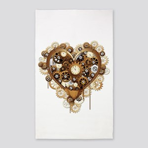 Steampunk Heart Love Area Rug