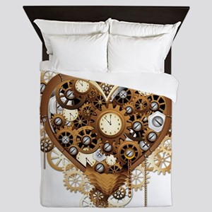 Steampunk Heart Love Queen Duvet